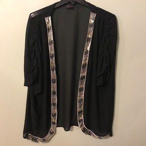 Torrid 2x/3x Black Sheer Kimono Silver Trim